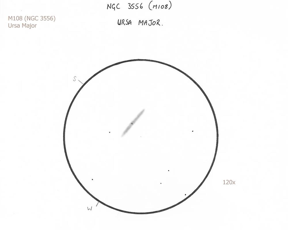 "M108/UMa, 8.75"" f/4.5 Newtonian/72x, 120x, 5.8/III/III, W"