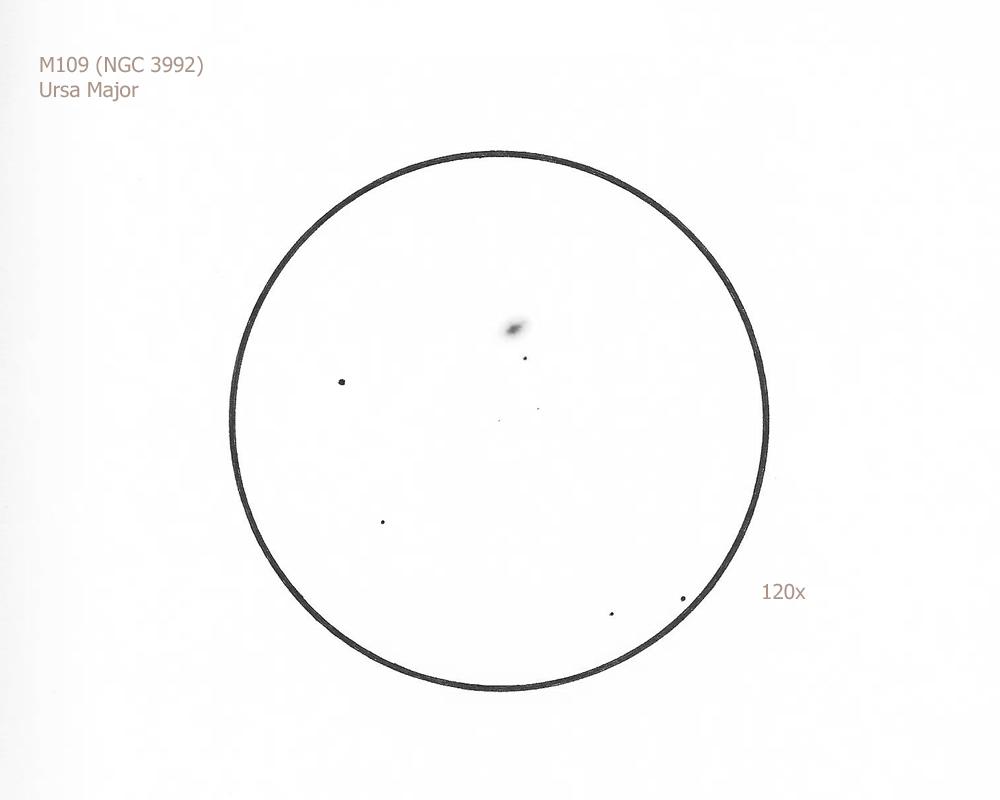 "M109/UMa, 8.75"" f/4.5 Newtonian, 72x, 120x, 5.8/III/III, W"