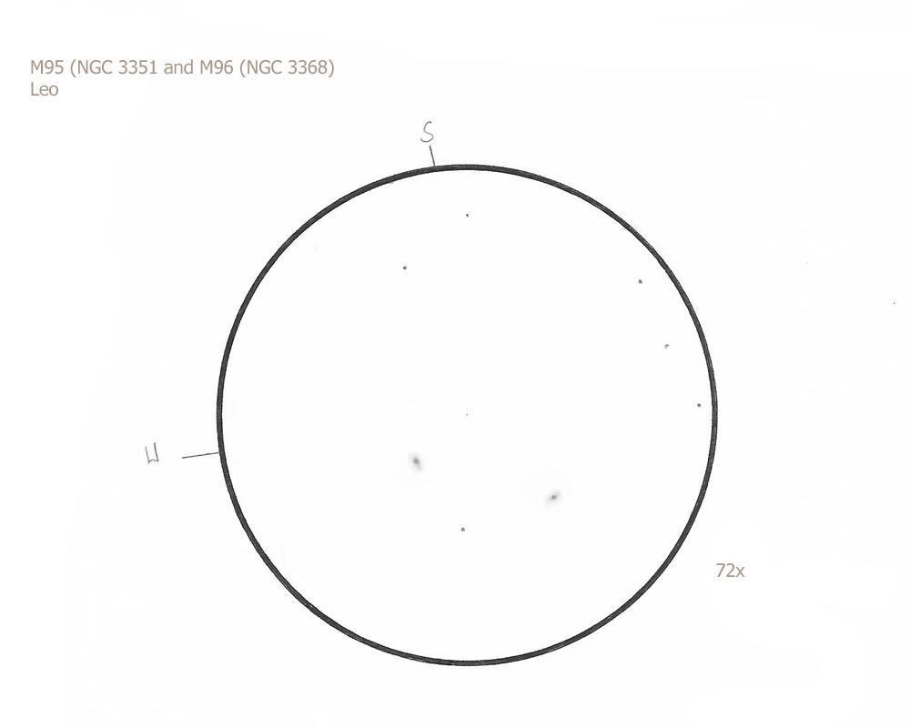 """M95 and M96/Leo, 8.75"""" f/4.5 Newtonian, 72x, 5.8/III/III (moon), W"""