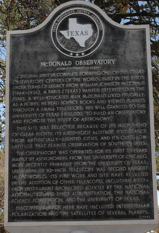McDonald Observatory information sign