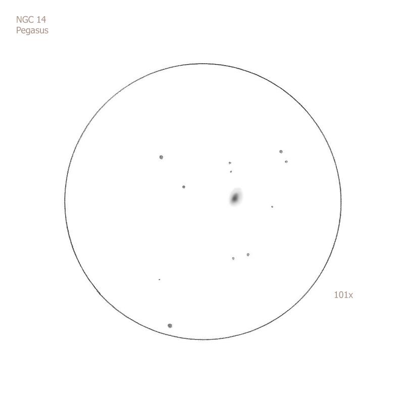 """NGC 14/Peg, 12"""" f5 Dob, 101x, 6.0/II/II, S"""