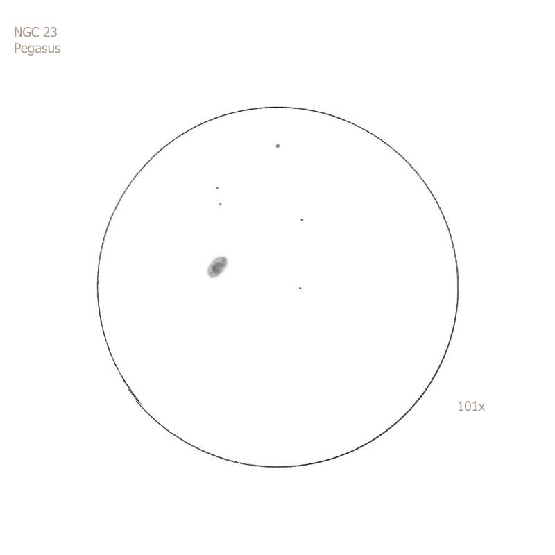 """NGC 23/Peg, 12"""" f5 Dob, 101x, 6.0/II/II, S"""