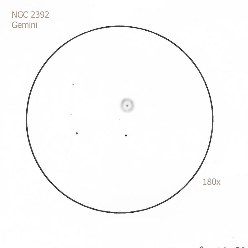 NGC 2392/Gem, 8.75 f4.5 Newt, 180x, 5.5/II/II, W
