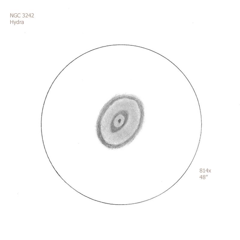 """NGC 3242/Hya, 48"""" dob, 814x/OIII, 6.9/II/I, F"""