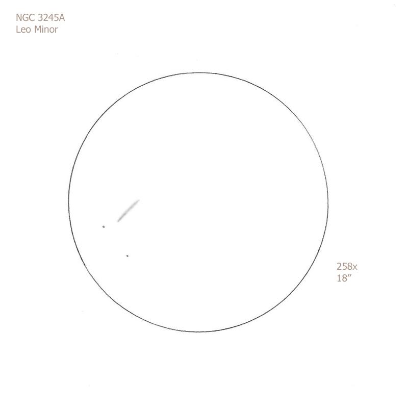 """NGC 3245A/LMi, 18"""" f5 Dob, 258x, 6.9/II/II, F"""