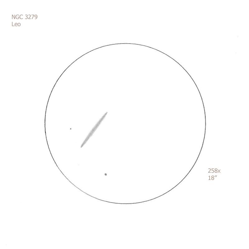 "NGC 3279/Leo, 18"" f5 Dob, 258x, 6.9/II/II, F"