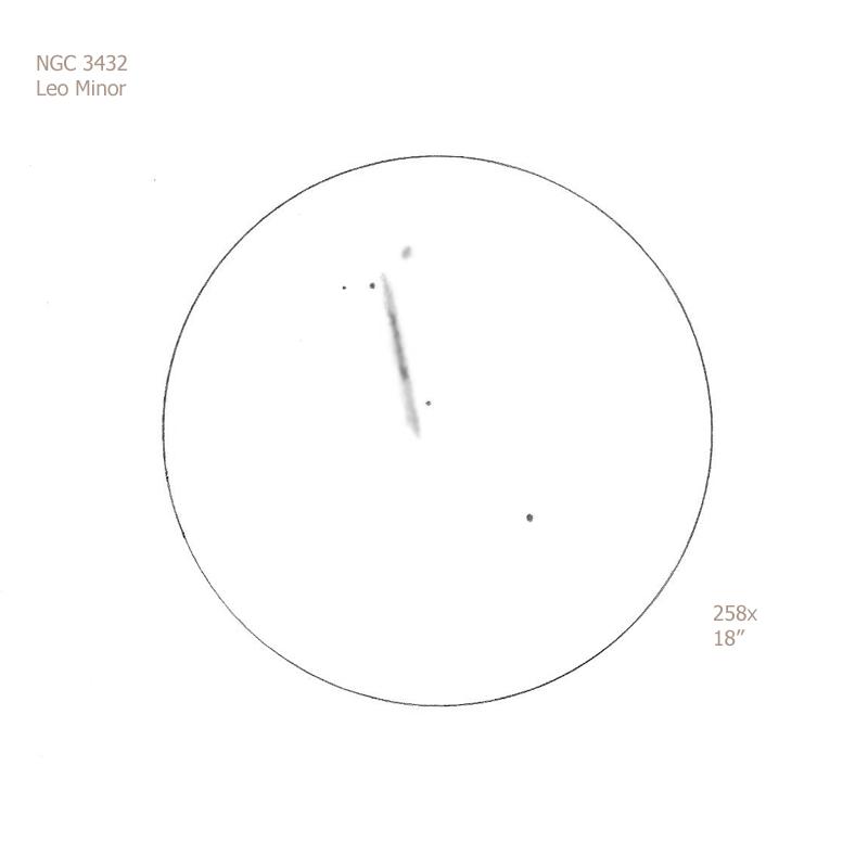 """NGC 3432/LMi, 18"""" f5 Dob, 258x, 6.9/II/II, F"""