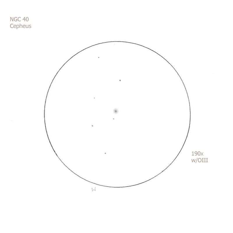 """NGC 40/Cep, 12"""" f5 Dob, 190x/OIII, 6.2/II/III, S"""