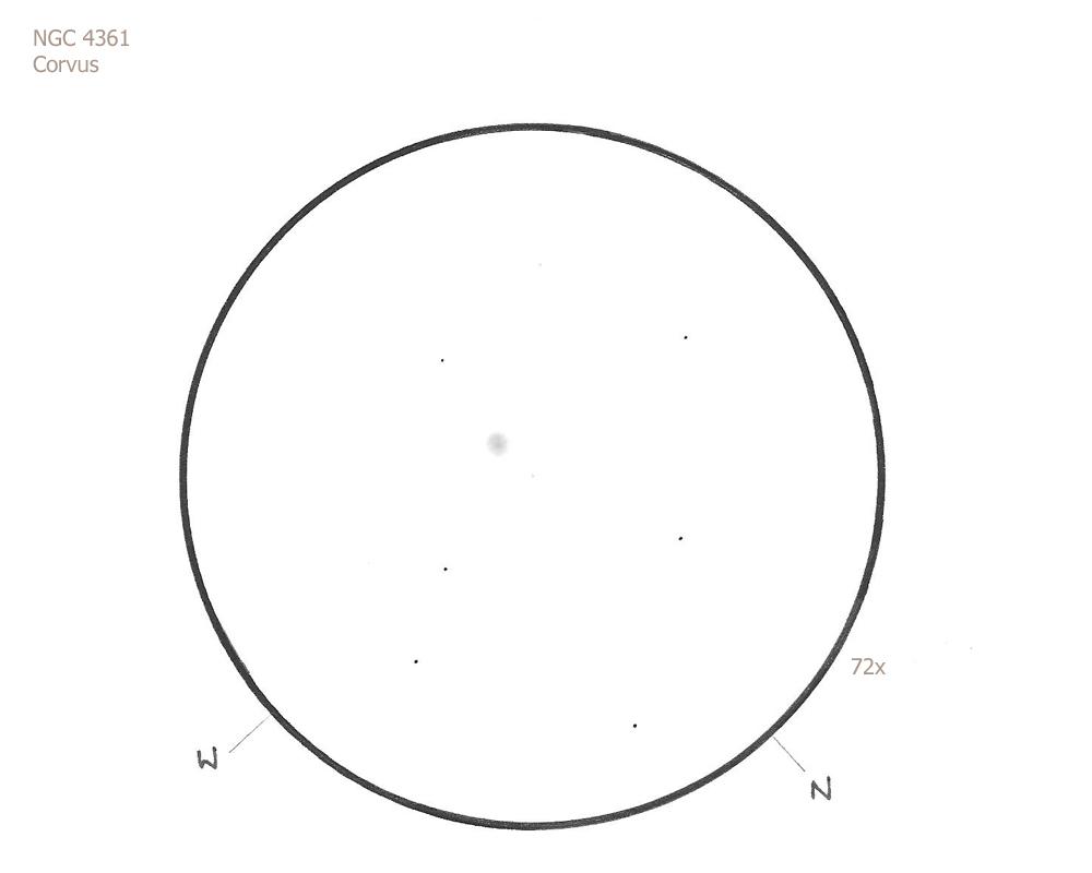 "NGC 4361/Crv, 8.75"" f4.5, 72x, 5.8/I/II, W"
