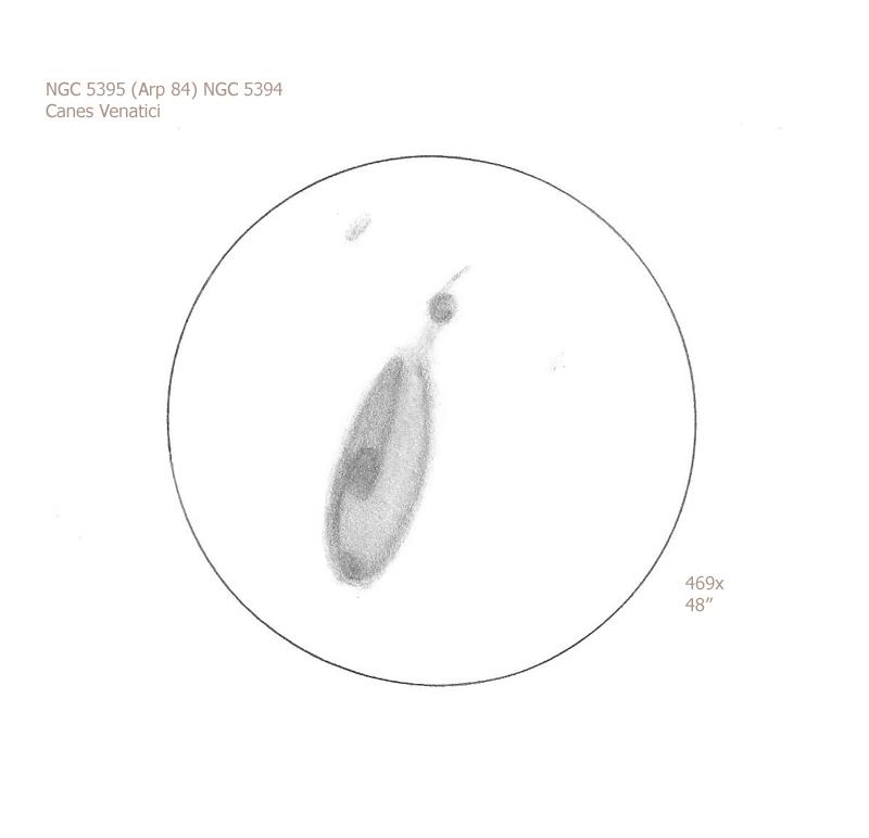 """NGC 5395 and 5394/CVn, 48"""" Dob, 469x, 6.9/II/II, F"""