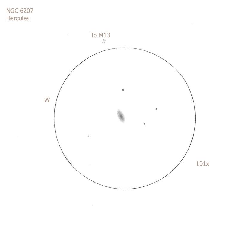 """NGC 6207/Her, 12"""" f5 Dob, 101x, 6.2/II/II, S"""