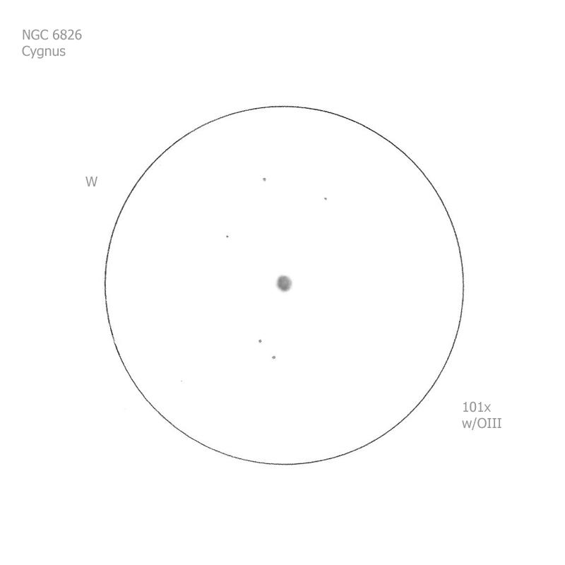 """NGC 6826/Cyg, 12"""" f5 Dob, 101x/OIII, 6.5/II/II, S"""