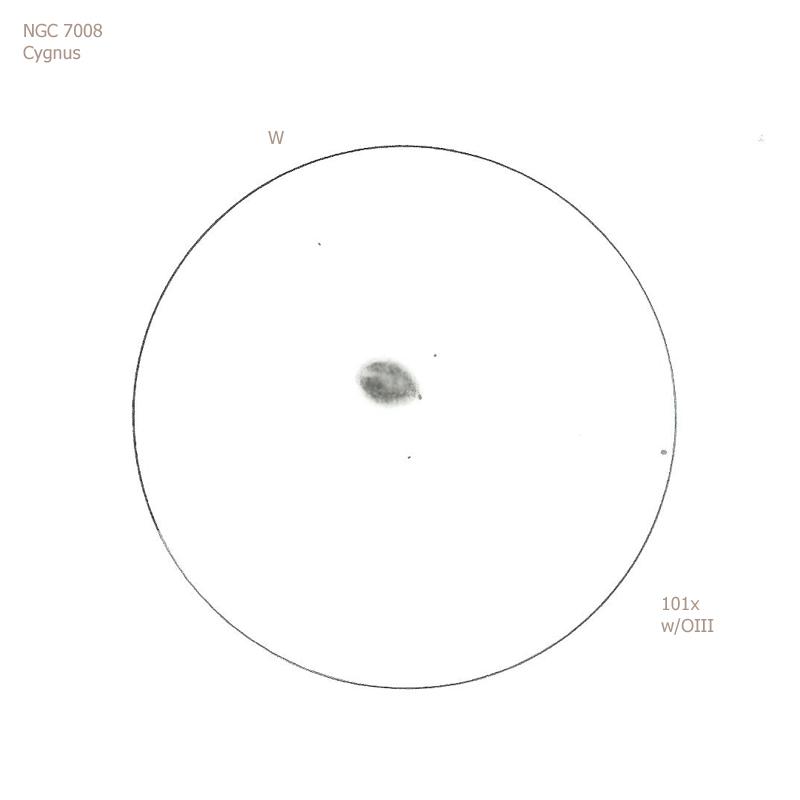 """NGC 7008/Cyg, 12"""" f5 Dob, 101x/OIII, 6.5/II/II, S"""