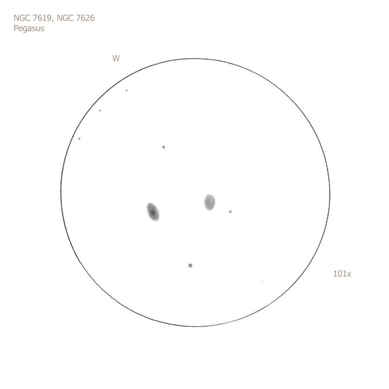 """NGC 7619 and 7626/Peg, 12"""" f5 Dob, 101x, 6.5/II/II, S"""