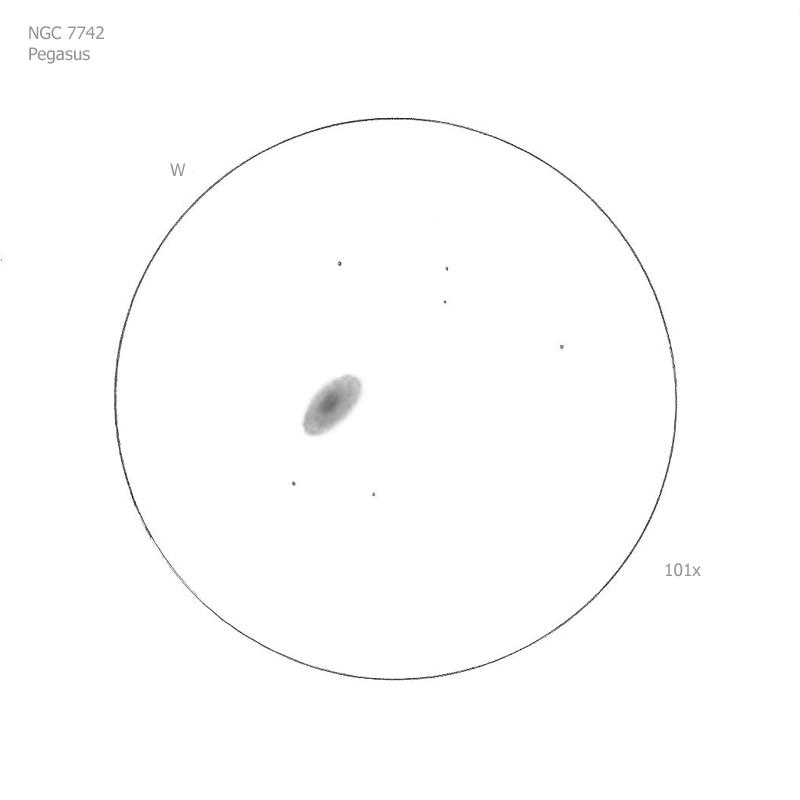 """NGC 7742/Peg, 12"""" f5 Dob, 101x, 6.5/II/II, S"""