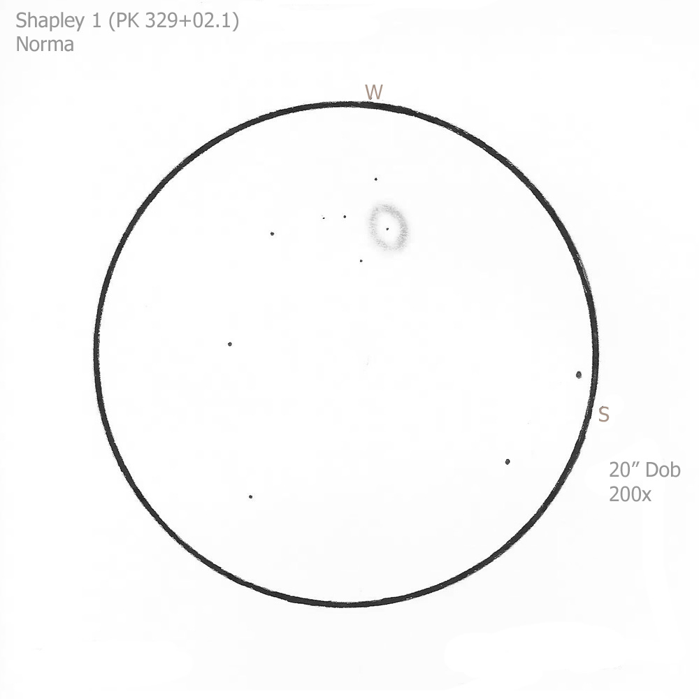 """Shapley 1/Nor, 20"""" Dob, 200x/OIII, 7.0/II/I, D"""