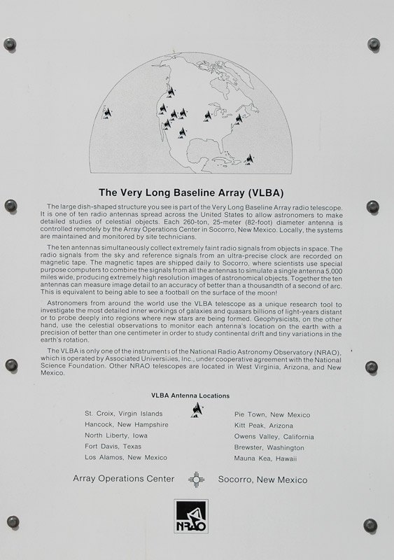 Information board at the VLBA