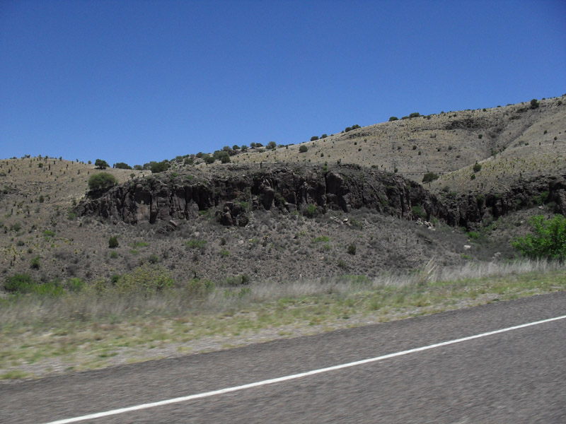 Rock outcrop. The Davis Mtns are mostly composed of lava from ancient volcanoes.